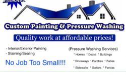 We do custom paint jobs, staining and sealing and pressure washing. Please visitour website athttp://paintandwash.weebly.comThanks!