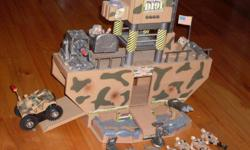 LIttle boys action figure command center. US Army, has 7 figures, accessories for the little figures such as handcuffs, binoculars, laptops, computers, etc. Also there is a vehicle that will run into a wall, front wheels go up the wall and it turns