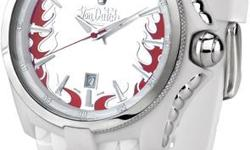 VON DUTCH-ANGEL QUARTZ LARGE-WHITE N REDSILICO CASE & STRAP-QUARTZ MOVEMENT/WATER RESISTANT 30 METERS SAPHIRE CRYSTAL..............NICE GIFT FOR YOUR GIRL WOTRH $434.....NEED THE MONEY SO MUST SACRIFICE..................