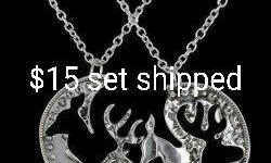 Buck and doe couples necklace