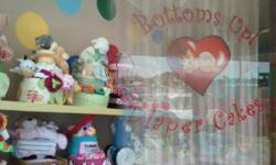 Bottoms up diaper cakes is a custom diaper cake shop that uses the highest quality, brand name products in our diaper cakes. We never cut corners, we pay close attention to every detail on each cake and we are committed to providing the most