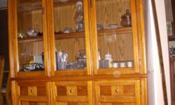 """Complete Dining Set for ONLY $325.00 Table w/leaf and 6 chairs. Table 38""""W x 54"""" without leaf. 38""""W x 70"""" w/leaf. China Cabinet w/light 50""""W x 75.5""""H and16"""" Deep CASH SALE ONLY Buyer must pickup & move items Only Interested buyers reply to: Email:"""
