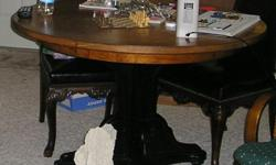 SOLID WALLNUT INLAY ROUND TABLE CHAIRS NOT SHOWN (4)