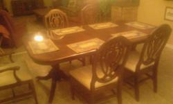 diningroom table with 6 chairs ,2 leaves and a hard top that go on top a steal at $850.00. bigjim5372@aol.com -- or -- ROME GA