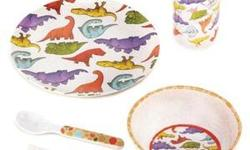 DETAILS: You are looking at a cute, fun, dinosaur kid's dinnerware set for your child! Little ones can enjoy meal time with their prehistoric pals! Fun dinnerware set is perfectly sized for little hands and small appetites and features a colorful parade