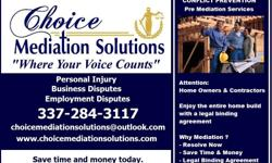 If you find yourself not sure what to do about a matter you are dealing with with your  Contractor Builder Repair Man Service Man Installer Shipper  Contact Choice Mediation Solutions It is always good to contact them prior to going into a