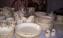 Supreme halls quality dinnerware approved and tested by Mary Dunbar Jewel home makers institue an eight piece setting.in good condition except the sugar bowl has a small chip on the outside rlm