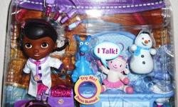 DISNEY DOC McSTUFFINS MAGIC TALKIN' CHECKUP 10 piece SET WITH LAMBIE, STUFFY, AND CHILLY. Set is new in factory sealed package! Play with and help Doc McStuffins bring her toys to life with her magical stethoscope in this Disney Doc McStuffins Clinic