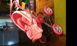 Used Disney Princess Doll Stroller with articulating seat and seperate doll bunting / carrier and diaper bag with feeding supplies. Carriage is very study and practially new - metal and rubber wells. My seven year old has simply out grown the