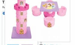 Disney princess tower transforming 2 in 1 table and chairs. Basically it's forms a tower and can be rearranged to be a table and 4 chairs. Paid over 100 asking $45.00 or best offer