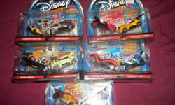 Disney Wild Racers~~They are neat cars and there are 5 unopened 2 packs. They sell anywhere between $15 to $20 per pack (per different sites online). Will part with all 5 packs for $30 1. Lion King ~~ Pride Land Flyer & Sinister Streetrod 2. Lilo & Stitch