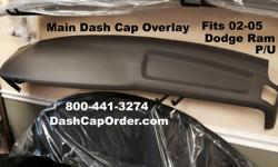 Dodge RAM Main DASH Cap Overlay Hard Cover Fits 2002 - 1500 Series 03-05 / 1500-3500 Series Dark Taupe which is a brownish beige ( TRM Code ending in L5 ) You glue this right over your original MAIN Dash Board to make it look like NEW again !
