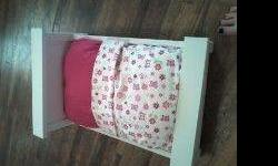 JUST IN TIME FOR CHRISTMAS. DOLL BEDS FOR AMERICAN DOLL OR ANY OTHER DOLL. WILL PAINT ANY COLOR. CALL -- FOR MORE INFORMATION. WILL POST PICTURES SOON.