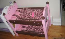 """These beds are made of 3/4"""" pine, they are built to last! They come with a mattress pad, coverlet, and pillow to coordinate with the colors of the bedding. We have several available and a few unpainted to customize to your little girls likes. Contact us"""