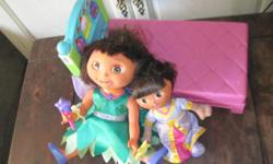 *~* My Daughter is clearing out her toys and Has this Really cute set. The bigger Dora Doll Sings and her eyes open and shut. She is Just darling She is selling the Group for 20.00,This Would be a Great Gift for a Dora fan... We take checks or pay