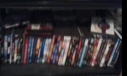 I HAVE ABOUT 100 DVDS FOR SALE ....HORROR...SUSPENCE ...... ACTION....LOVE STORIES SOME DVDS HAVE MORE THAN 1 MOVIES ON THEM YOU CAN COME BY AND TAKE A LOOK..OR I CAN SEND YOU A LIST OF WHAT I HAVE.... 2.00 EACH OR 100.00 TAKES THEM ALL