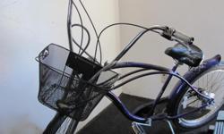 Purple Dyno motoglide nexus Hub 4 speed Disk like brakes White Flames on seat and frame Removeable Basket