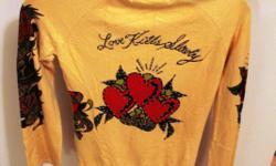 Size: M Ed Hard Christian Audigier pullove tunic. Color: Yellow Detail: Embellished diamond, Drawstring hood, Kangaroo front pocket Retail $100-$150
