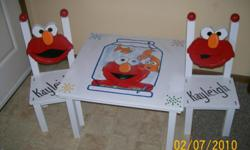 This cute one of a kind Elmo table & chair is hand made just for your child. The set is made with your favorite character as the chair back. I personalize the Set with your child?s name on the seat. Made of a sturdy wood and secured with wood screws.