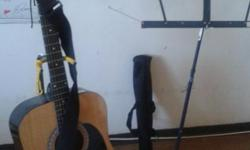"""Guitar( acoustic), ,Estaban, in carry case,toss, in 'music-book-stand' ,one, Estaban, instructional-dvd vol.2 ,&, laminated, Estaban,signiture wall chord-chart ,20x20"""",&, guitar-stand ,includes: pic ;newextra steel strings ,&,guitar-strap. LIKE NEW/"""