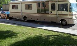 1995, 35 feet, Fleetwood Bounder, Class A, 85000 original miles on Gas 460 Ford drive, 6000 W Generator, two airconditioners, new 19 inch flat screen TV forward, 14 inch TV in bedroom, New porcelain toilet, Refrigerator, Range, Microwave. Lots of