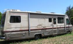 Sr. Must sell 32' Motor Home. Clean Roomy, & very comfortable. Drives well. Marve & Tan colored velvet Chairs, Seats,& Couch that opens to a double bed. Sink, stove w/oven,refrig.,& dinning table that open into a bed. In the rear are two twin beds & in