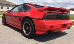 1988 Pontiac Fiero GT V6 engine, new tires, new paint, detachable sunroof, power windows and doors. Headlights function as designed, electric windows work, a/c and heat as well. automatic transmission. Asking price: $2,899 OBO contact: