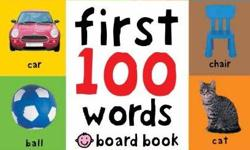 First 100 Words Product Description Your little one will soon learn some essential first words and pictures with this bright board book. There are 100 color photographs to look at and talk about, and 100 simple first words to read and learn, too. The