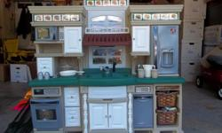 """Purchased this kitchen at Toys R' Us 4 years ago for $369.00. It is still in excellent and working condition--the stove makes a frying sound for """"cooking"""" bacon and makes a boiling sound when """"boiling"""" water. There are keypads for use with the microwave,"""