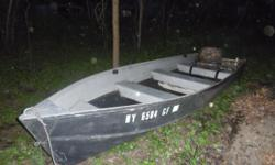 (Willing to sell together or seperately) 14 foot Sears Aluminim boat (needs work, small leaks), 1987 Teene Steel Trailer, Wards Sea-King, 2 Stroke, 9 horse, electric start outboard motor. Various accesories included. $700 package deal.