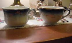 Flow Blue cups, have two, Flow Blue saucers, have two. All items good condition.Saucers are ten dollars each.One saucer has very minor nick.