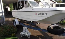 1979 16ft.Marlin OMC,out board motor. The moter is a120 cc in-line,4 cyl. moter, very easy to work on.With a easylift rollertrailer that is in excellet condition. Got sick shortly afterI started tearing the floor out