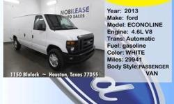 2013 Ford Econoline  Price: $19,900  Apply for a loan through MOBILEASE INC. Call for details - (919) 277-4222   Year: 2013 Make: Ford Model: Econoline Trim: E-150 Commercial Engine: 8-Cylinder 4.6000 Trans: