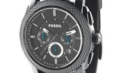 Chunky wristwatch in trendsetting black on black features a knurled stainless steel bezel and three chronograph subdials. Striking blue chronograph hands. Black silicone strap has adjustable buckle clasp. Stainless steel case. Water resistant to 165?.