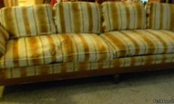This sofaseats comfortable four people. Wood craftmanship is excellent. $95.00