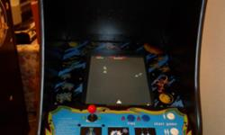 This is a 60 in 1 galaga with new paint and art.All of the art is new side art, kick plate, control panel, bezel, marquee.It has new harness, power supply, game board, joystick, marquee light. This galaga is backed up with a one year warranty. 1200 obo If