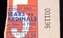 Wrigley Field 11/14/1965 Gale Sayers has his 7th career TD {of his NFL Record 22that he would gain to setthe Rookie Rushing Record} in a 34-13 win over the Cardinals. Rated as one of the greatest backs ever. --- One season: Walter?s 1977, with