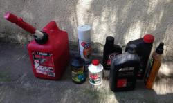 1gallon gas container,oil change pan,oil,brake fluid,oil,grease remover, polishes, pack of rags-Take everything for $5