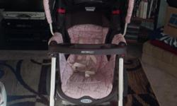 Graco pink and brown car seat and stroller travel system. Pink and brown Graco pack nplay with bassinet and changing system. Blue bear pack n play. Dark wood high chair. Britax car seat manufactured 2009.