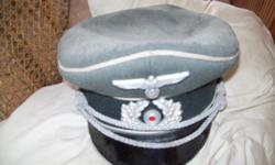 WW2 GERMAN OFFICER'S HAT ORGINAL,NOT REPOPODUTION VERY RARE FIND SOME MOTH HOLES,BUT VERY COLLECTABLE SHAPE FOR THE 40'S
