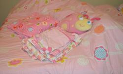 Girl's full size bedding. Includes comforter, fitted sheet, flat sheet, 2 pillow cases, 2 pillow shams, blanket, bedskirt, and musical ladybug. Asking $30 for it. Located outside of Lone Oak.