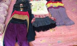 Girls size 4, 11 pair of jeans from Old Navy and Child's Place. 7 Tee Shirts from Old Navy & Childs Place. 2 skirts size 4 from Child's Place and 9 dresses all size 4 from Old Navy and Child's Place all 1 year old worn last spring/summer 2013. Call Jackie