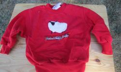 """Cute Glen Appin red sweater with sheep on front. Says """"Scotland's Wooly Jumper"""" under sheep. In great condition and can be for a boy or a girl. Size tag is marked with a 3."""