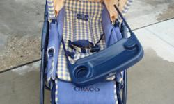 Graco Luxury Stroller. Colors of yellow and blue. Stroller had good wheels. Seat goes all the way making the seat into a bed. Has a tray you can detach. Top cup holder has a cover. Has lots of storage on the bottom. Very clean.