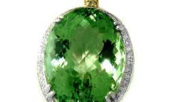 Gem Type: Green Amethyst & Diamond Quantity: 1 Diamond total weight: .89 carat round brilliant (Clarity: SI1-I-1 Color: I-J ) Green amethyst total weight: 45.59 (Clarity: VV1 Color: rich charm green, Treatment: None, Origin: Brazil, Hardness 7) 14k solid