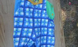 Cute Gymboree coveralls with a blue/green plaid pattern. These are marked size Infant. In like new condition.