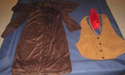 Mens Cowboy Bad Guy Costume. Comes with Long Brown Coat, Light Brown vest, and a Red Bandana. (Get a cowboy hat and toy gun to complete the outfit.) Fits Medium to Large. $20 949-589-8777