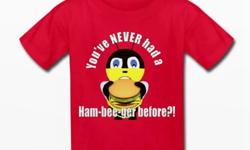 This t-shirt is available for young adults and kid sizes. For more information check out the following website: https://shop.Spreadshirt.Com/lionelbumblebee/ham-bee-ger+t+shirt+kids-A105355964?noCache=true only available on the website.
