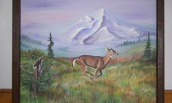 Hand painted acrylic Mountain scene with running Deer. Size is 24 x 30 inches. It is Dated, Titled and Signed by the artist. For more information Please email. or call 1-701-308-1144 or 1-701-883-5472