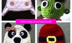 All kinds of hats made with quity yarn! Please go to www.etsy.com/karohook